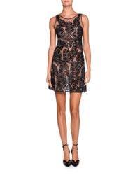 Giorgio Armani   Black Sleeveless Sheer Leaf-embroidered Dress   Lyst