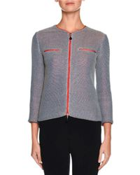 Giorgio Armani | Gray Knit Zip-front Jacket | Lyst