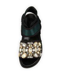 Marni | Green Fussbett Jeweled Satin Grip-strap Sandal | Lyst
