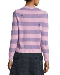 Marc Jacobs | Pink Striped Wool-cashmere Cardigan With Distressing | Lyst