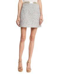 Marc Jacobs | White Beaded-waist Tweed Skirt | Lyst