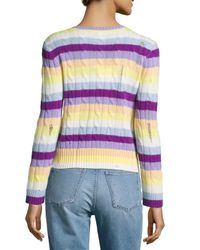 Marc Jacobs - Purple Cable Knit Stripe Sweater - Lyst