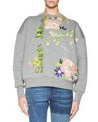 Alexander McQueen | Gray Floral-embroidered Patchwork Sweatshirt | Lyst
