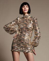 Marc Jacobs | Metallic Sequined Mock-neck Mini Dress | Lyst
