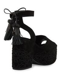 Sigerson Morrison | Black Beia Suede Platform Sandal | Lyst
