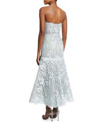 Monique Lhuillier - Blue Strapless Chantilly Lace Tea-length Dress - Lyst