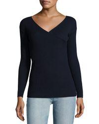 The Row | Blue Jinu Surplice Superfine Cashmere Sweater | Lyst