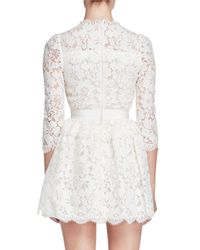 Alexander McQueen | White 3/4-sleeve Floral-lace Dress | Lyst