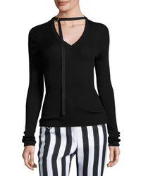 Nina Ricci | Black Ribbed Knit Tie-neck Sweater | Lyst