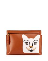Loewe | Brown Painted Cat Pouch Bag | Lyst
