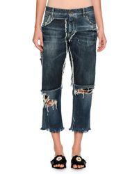 Dolce & Gabbana | Blue Distressed Denim Boyfriend Jeans | Lyst
