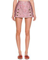 Dolce & Gabbana | Gray Leopard-print Fil Coupe Mini Skirt | Lyst