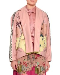 Valentino | Pink Jungle Of Delight Embroidered Leather Jacket | Lyst