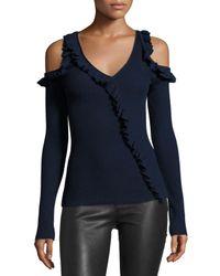 Jason Wu | Blue Ruffled Knit Cold-shoulder Sweater | Lyst
