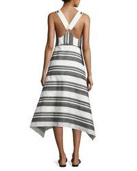 Tibi Black Organza Striped A-line Midi Dress