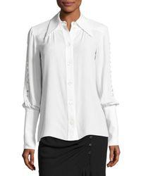 Michael Kors | White Button-detail Silk Blouse | Lyst