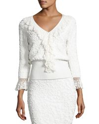 Michael Kors - White Crochet-trim Soutache-embroidered Top - Lyst
