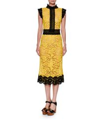 Dolce & Gabbana | Yellow Two-tone Floral Lace Cocktail Dress | Lyst