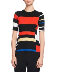 Proenza Schouler | Multicolor Short-sleeve Colorblock Knit Top | Lyst