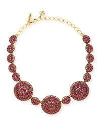 Oscar de la Renta | Pink Crystal Disc Statement Necklace | Lyst