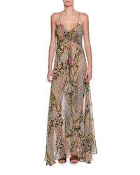 Etro | Black Paisley-print Silk Cami Gown | Lyst