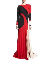 Naeem Khan - Red Colorblock Long-sleeve Gown - Lyst