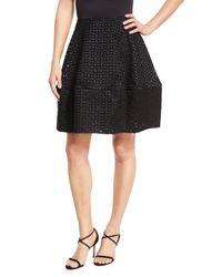 Zac Posen | Black Duchess Eyelet A-line Skirt | Lyst