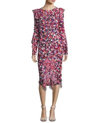 Michael Kors - Floral-embroidered Bias-ruffle Dress - Lyst
