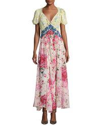 Attico | Pink Panelled Floral Print Maxi Dress | Lyst