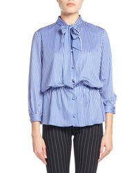 Balenciaga | Blue Striped Tie-neck Gathered-waist Blouse | Lyst