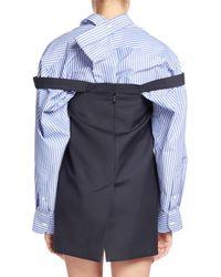 Balenciaga - Blue Mini Pinstriped Dress/skirt - Lyst