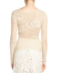 Balenciaga - Natural Crocheted Lace Sweater - Lyst