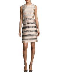 Fendi | Natural Satin-striped Shift Dress | Lyst