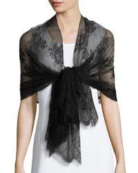 Valentino | Black Exotic Garland Silk Evening Scarf | Lyst
