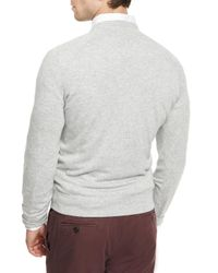 Brunello Cucinelli - Gray Athletic Crewneck Sweater for Men - Lyst