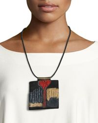 Urban Zen | Black Leather Collage Tablet Necklace | Lyst