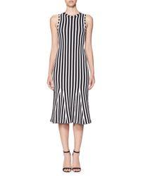 Victoria Beckham | White Wide-stripe Intarsia Kick-flare Dress | Lyst