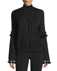 Andrew Gn | Black Cable-trim Mock-neck Sweater | Lyst