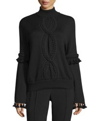Andrew Gn - Black Cable-trim Mock-neck Sweater - Lyst