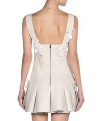 Fendi - White Floral-embroidered Leather Mini Dress - Lyst