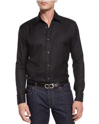 Ferragamo | Black Tonal Gancini-print Jacquard Shirt for Men | Lyst