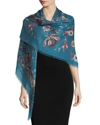 Roberto Cavalli - Blue Forbidden Fruit Square Shawl - Lyst