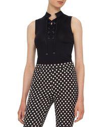 Akris Punto | Black Sleeveless Corded Jersey Top | Lyst