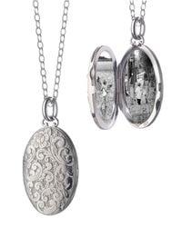 Monica Rich Kosann | Metallic Carved Sterling Silver Locket Necklace | Lyst