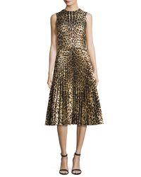 RED Valentino | Black Sleeveless Leopard-print Pleated Dress | Lyst