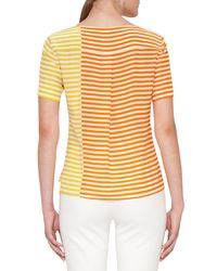 Akris Punto - Yellow Colorblock Stripe Short-sleeve Top - Lyst