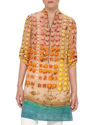 Akris Punto   Orange Riviera-print Zip Silk Tunic   Lyst