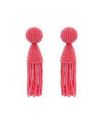 Oscar de la Renta | Orange Short Beaded Tassel Clip Earrings | Lyst