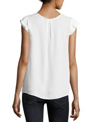 Joie | White Nesrin Cap-sleeve Silk Top | Lyst