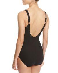 Gottex Black Embrace Surplice Striped One-piece Swimsuit